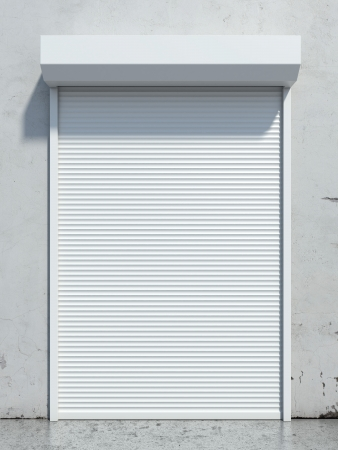 Door with roller shutter  isolated on a white background. 3d render photo