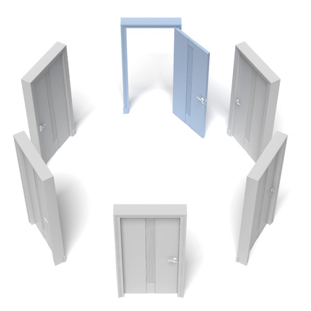 circle of closed doors and one opened isolated on a white background. 3d render Stock Photo - 24889381