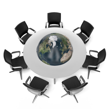 Table with earth isolated on a white background. 3d render photo