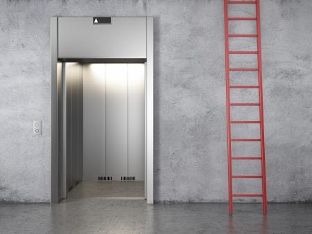 backstairs: ascensore e scale rosso. Rendering 3D Archivio Fotografico