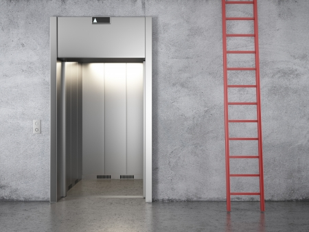 elevator and red stair. 3d render photo
