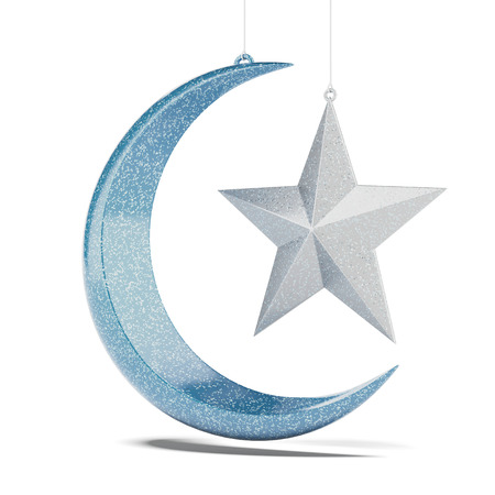 Glossy Crescent  isolated on a white background. 3d render photo
