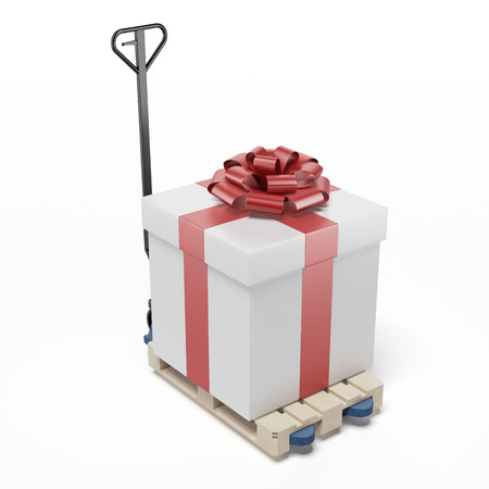 Pallet Truck with Gift isolated on a white background. 3d render Stock Photo - 24889400