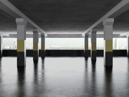abandoned car: underground parking area with windows. 3d render