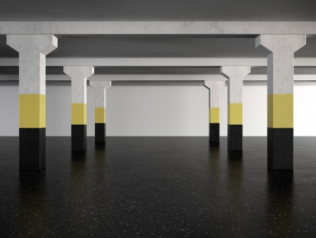underground parking area. 3d render photo