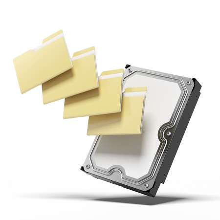 Hard disk and folders isolated on a white background. 3d render