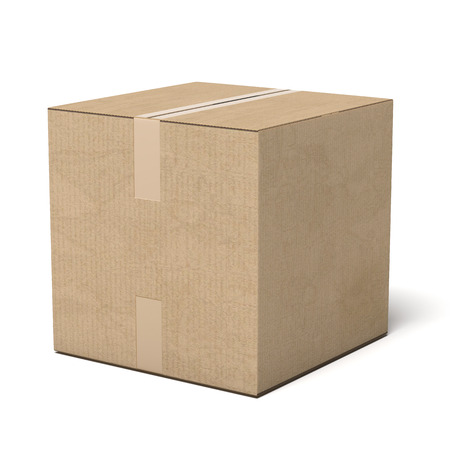 closed box: Closed cardboard box isolated on a white background. 3d render Stock Photo
