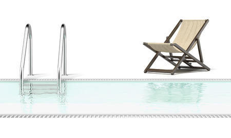 3d swimming pool: swimming pool and empty resting chair isolated on a white background. 3d render