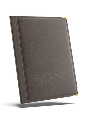 embed: Brown leather Menu folder isolated on a white background. 3d render
