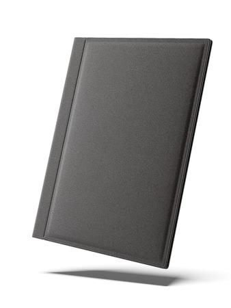 白い背景に分離された黒革フォルダー。3 d のレンダリング