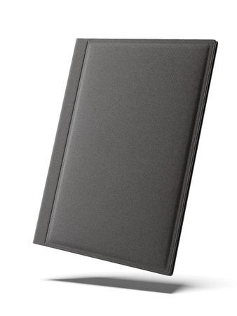 Black leather folder isolated on a white background. 3d render