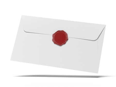 envelop with wax press isolated on a white background. 3d render photo