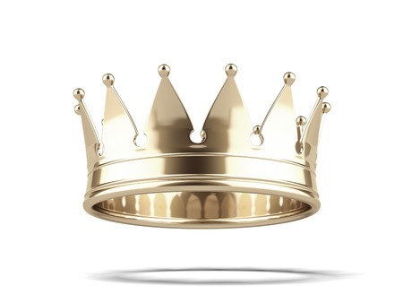 Gold crown isolated on a white background. 3d render