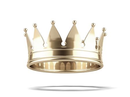 Gouden kroon geïsoleerd op een witte achtergrond. 3d render Stockfoto