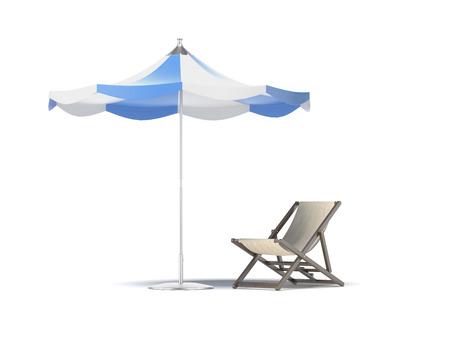 lineas horizontales: sombrilla y silla de playa aislada en un fondo blanco. 3d