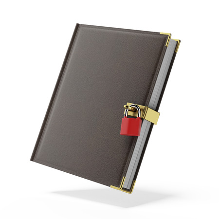book in leather cover and padlock isolated on a white background. 3d render photo