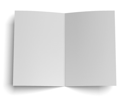 blank opened paper isolated on a white background. 3d render photo