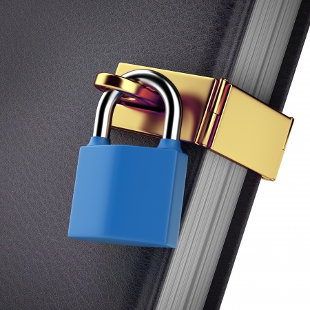 protection of the bible: close-up of book with padlock isolated on a white background. 3d render
