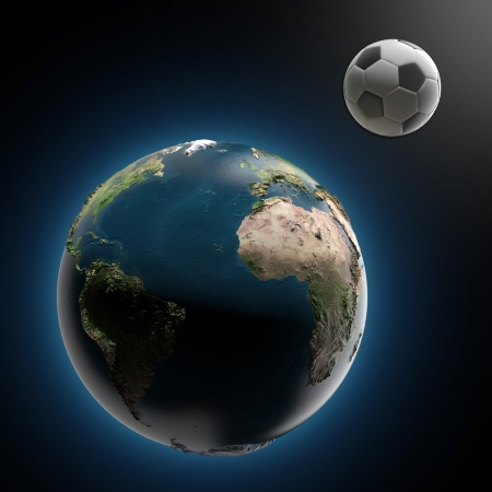 futbol soccer: Earth and soccer ball  isolated on a black background. 3d render