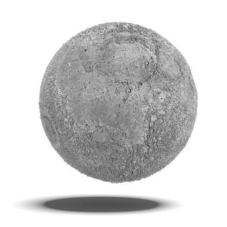 Volle maan geïsoleerd op een witte achtergrond. 3d render