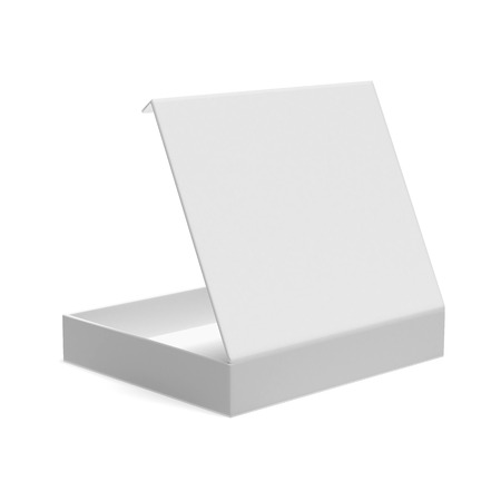 Opened flat box isolated on a white background. 3d render photo