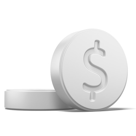 ingest: Pill with dollar sign isolated on a white background. 3d render