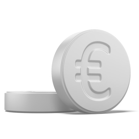 ingest: Pill with euro sign isolated on a white background. 3d render Stock Photo
