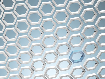 White honey combs whith blue hexagon  isolated on a blue background. 3d render photo