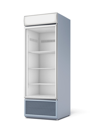 refrigerator: Drink display fridge  isolated on a white background. 3d render Stock Photo