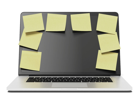 Laptop with a lot of yellow stick notes isolated on a white background. 3d render photo
