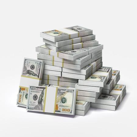 흰색 배경에 고립 달러의 큰 더미입니다. 3d 렌더링