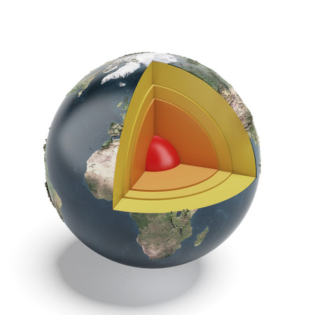 earth core: Structure of the Earth isolated on a white background. 3d render Stock Photo