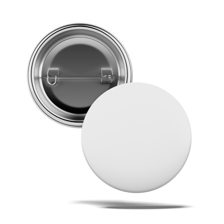 Two Blank badges isolated on a white background. 3d render photo