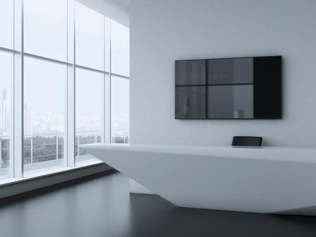desk area: Office reception desk . 3d render
