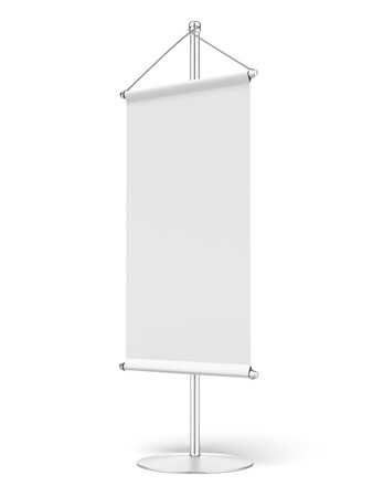 Roll up banner isolated on a white background. 3d render photo