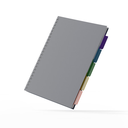 tabbed binder: Blank Notebook  isolated on a white background. 3d render Stock Photo