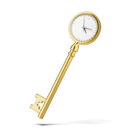 Golden key-clock isolated on a white background. 3d render photo