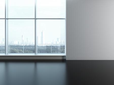 empty office: Office window. Blank wall. 3d render
