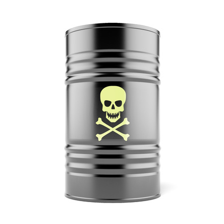Toxic waste barrels isolated on a white background. 3d render photo