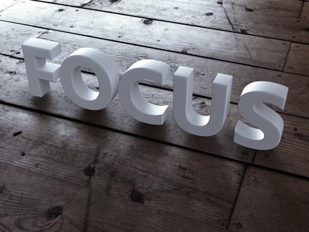 intention: Word focus on wooden floor. 3d render Stock Photo