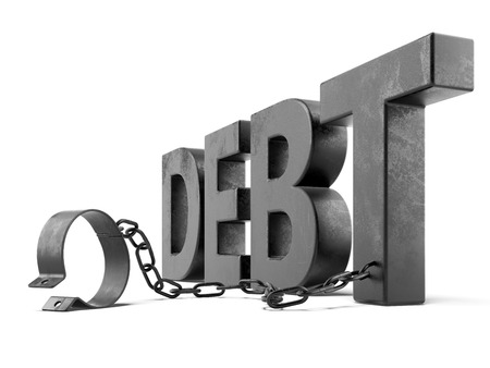 debt text with shackles isolated on a white background. 3d render Imagens