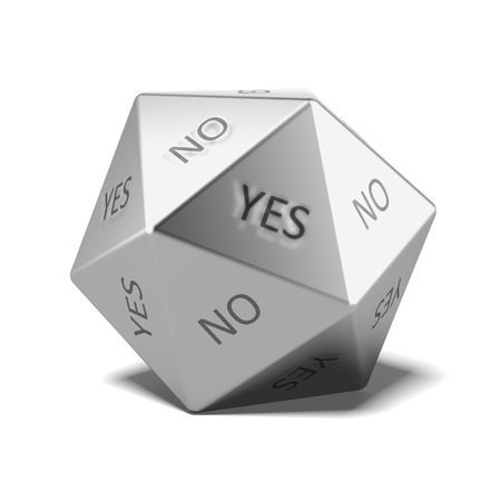 Yes No Dice isolated on a white background. 3d render photo