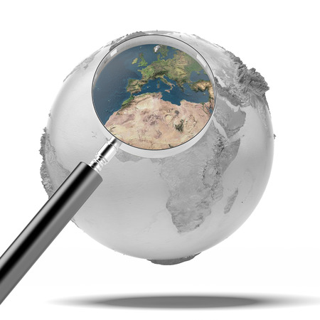 earth with magnifier isolated on a white background. 3d render photo