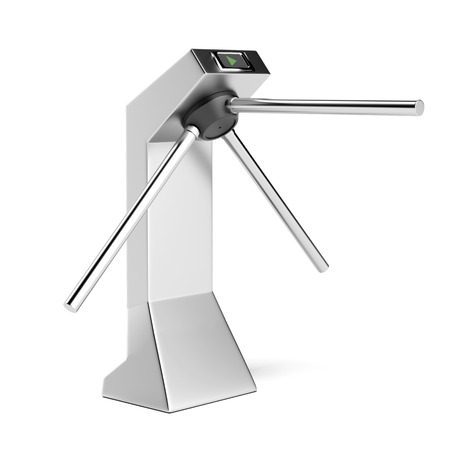 turnstile: Silver turnstile isolated on a white background. 3d render