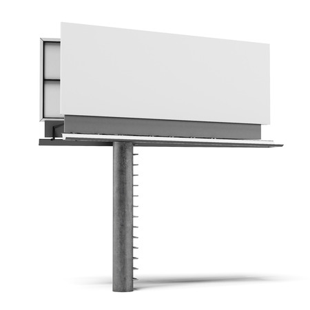 message board: Blank billboard isolated on a white background. 3d render