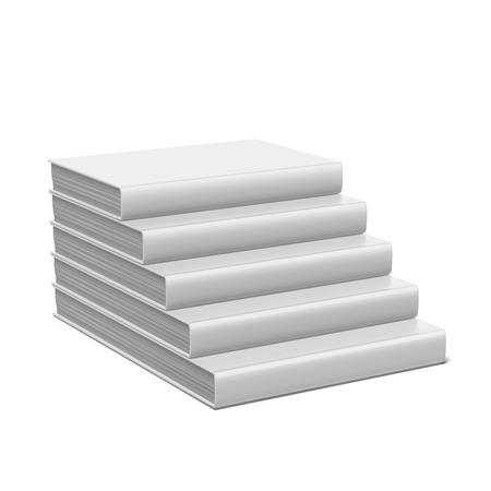 hard cover: book stair with blank cover isolated on a white background. 3d render Stock Photo