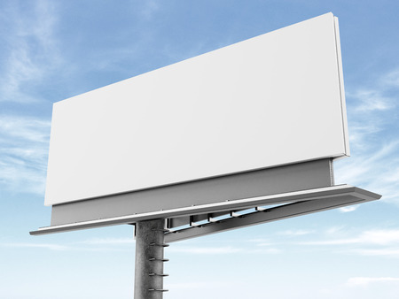 blank banner: Blank billboard on the background of clouds. 3d render Stock Photo