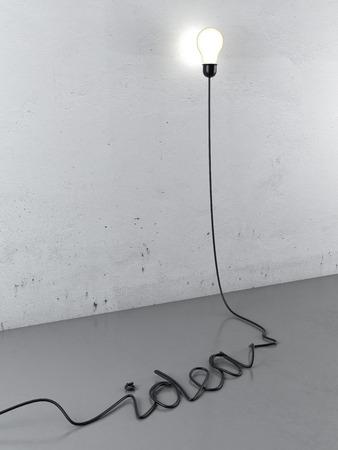 enchufe de luz: Cable forma una idea de la palabra con el bulbo. 3d Foto de archivo