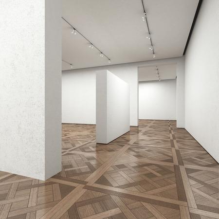Empty art gallery with wooden floor. 3d render