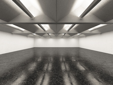empty warehouse: empty gallery interior with dark floor. 3d render
